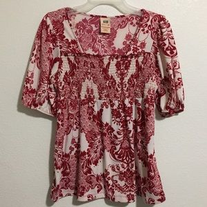 🦄 Faded Glory Red White Damask Pattern Blouse Top